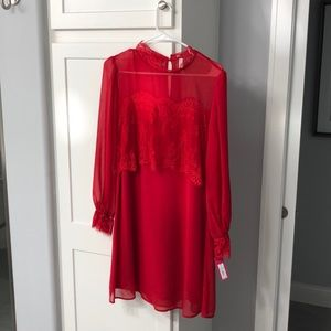 Red baby doll with lace detail dress